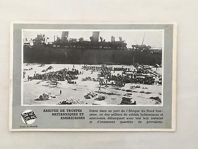 WWI Postcard Arrivee de Troupes Britanniques et Americaines North Africa