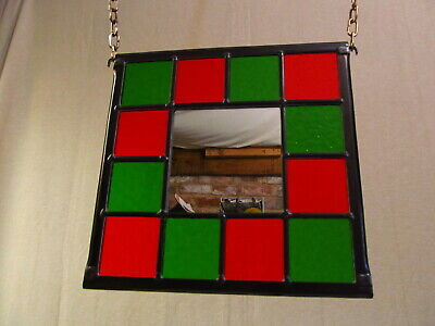 Newly crafted TRADITIONAL Stained Glass Window Panel WITH MIRROR 224mm x 223mm