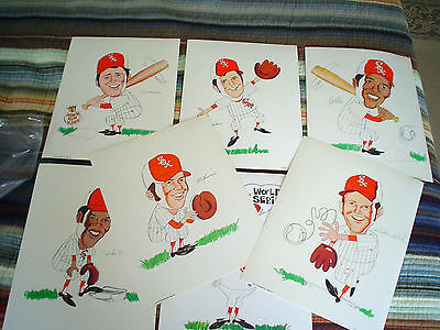 "1972 CHICAGO WHITE SOXS CHARACTER PRINTS FULL SET 11"" X 14"" (7 PRINTS) NM/MINT"