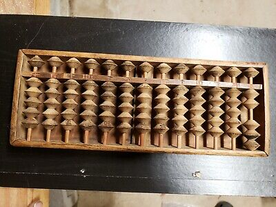Handmade Vintage Chinese Abacus 13 Rods Wood Beads hand cut
