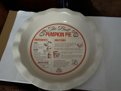 Ceramic Pie Plate Pumpkin Pie Recipe From Pan Baker Dei Co.11 Inches