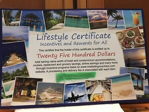 Vacation Certificate for $2500