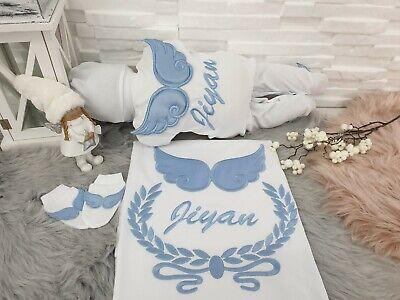 NEU! Baby Strampler Set mit Namen Decke mit - Baby Engel Mit Flügeln