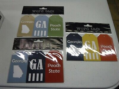 DELUXE DESIGNS GEORGIA STATE WORD TAGS 3 PC DIE CUT EMBELLISHMENT A20605 Die Cut Deluxe Designs