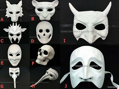 Diy Wolf Mask (Blank DIY Halloween Animal Masquerade Mask Devil Skeleton Wolf Costume)