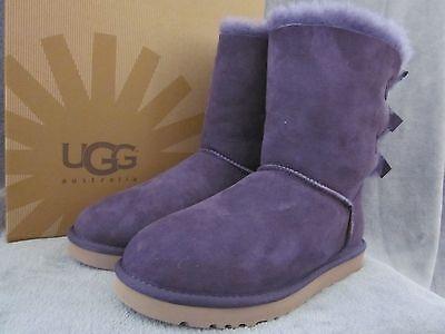 UGG Australia Bailey Bow Purple Suede Sheepskin Short Boots Shoes US 8 EU 39 NWB - Purple Bow Ugg Boots