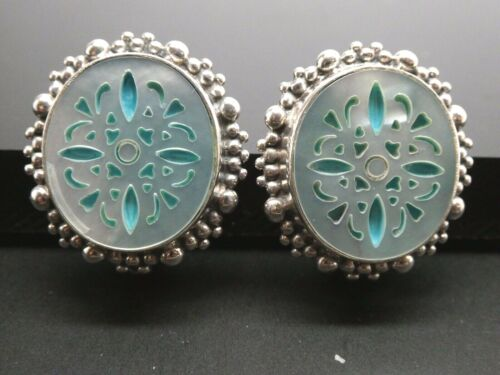 STEPHEN DWECK Carved White MOP Shell Blue Sterling Silver 925 Clip On Earrings