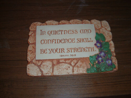 Vintage In Quietness & Confidence Isaiah Larsen Chalkware Bible Verse Plaque