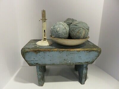 CHUNKY ANTIQUE CRICKET BENCH, FOOT STOOL, EXCELLENT OLD BLUE PAINT, AAFA