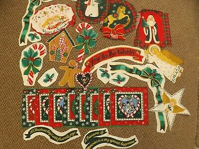 Vtg Lot 30 Christmas Fabric Pieces Appliques No Sew Angels Holly Snowmen & More!, used for sale  Shipping to India