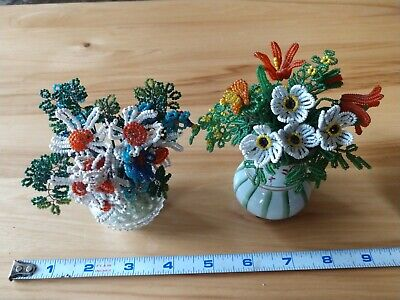 Two MINI VINTAGE Hand-made Glass BEADED FLOWER ARRANGEMENTS US 60's-70's CRAFTS Glass Beaded Flowers