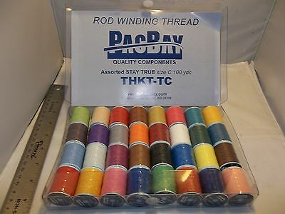 "Rod building thread  76 spools Rod smith ""A"" & ""C"" by Pac Bay plus metallic"