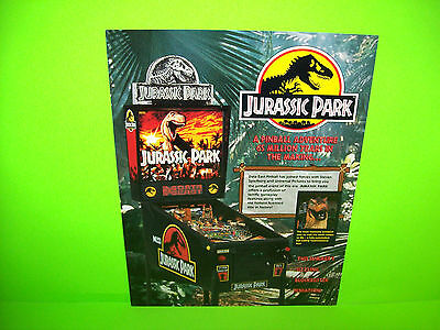 Data East JURASSIC PARK Original 1993 NOS  Pinball Machine Promo Sales Flyer