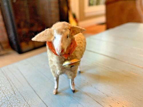 Putz Sheep Fly Away Ears Bell Ribbons Germany German Stick Leg Wooly Antique Toy