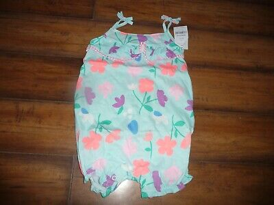 NEW NWT Carters Girls beautiful teal bright flower Print Romper size 24 months