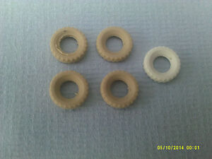 Dinky x4 replacement tyres 15mm yellowed white treaded