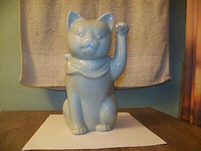 "Gump's Celadon Green Maneki Neko Good Luck Cat Figurine 9"" Vintage Made in Japan"