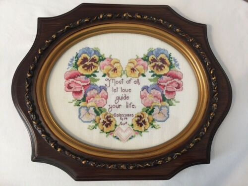 Needlepoint Framed Art Floral 13 x 11 with Bible Scripture About Love