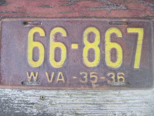 Vintage 1935-36 West Virginia License Plate # 66-867
