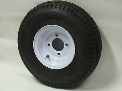 "2 New Trailer Tires & Rims 480-8 4.80 X 8 8"" B 4 Lug Hole Bolt Wheel White"