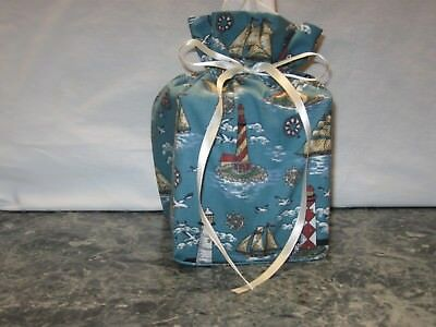 Lighthouse boats birds cotton Fabric Handmade Square Tissue Box Cover (ONLY)