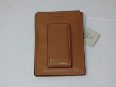 Fossil ML3855B216 Ford Mag CC Saddle RFID money clip card wallet leather mens ID