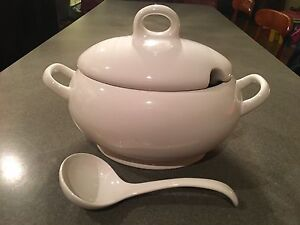 White Soup Tureen with Serving Spoon in Perfect Condition