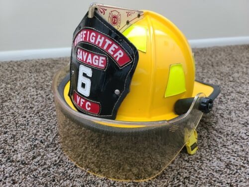 Vintage Cairns & Brother SAVAGE #6 Firefighter Yellow Helmet Visor Classic 1000