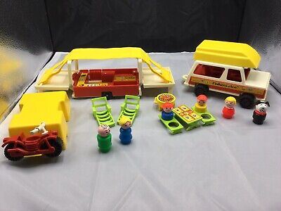 Fisher Price little people Vintage pop-up camper/boat/Jeep complete set 992