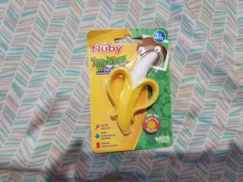 Nuby Nananubs Banana Massaging Infant Baby Gums Toothbrush Silicone BPA FREE