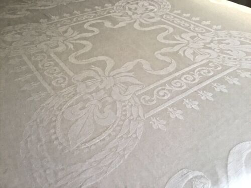 Vintage Antique Linen & Cotton Ivory FLEUR DE LIS TABLECLOTH 60 x 66 Hemstitched