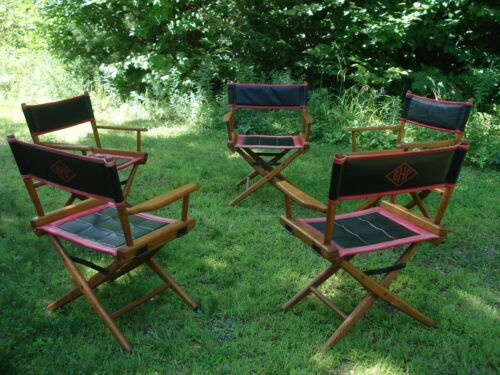 Set of 5 Vintage Telescope Folding Directors Chairs-Wood Steel and Pleather