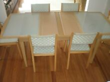 Extension wood and glass dining table with 6 chairs and 2 stools Mosman Mosman Area Preview
