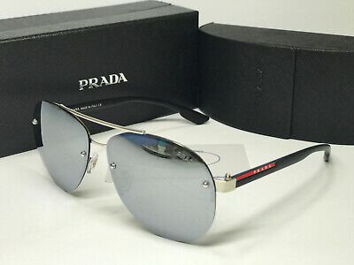 Sunglasses Polarize@¹Prada#¹PS56MS-1BO1A1Sport Black Demi Silver Mercury Lens