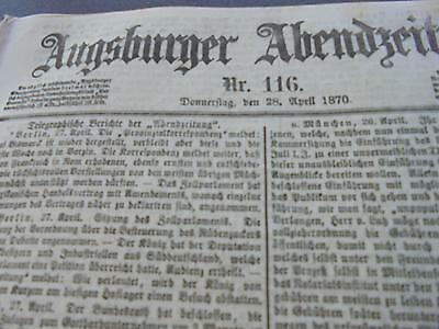 1870 Augsburg Zeitung 116 / Unterwindach Greifenberg / Altomünster Feuerwehr