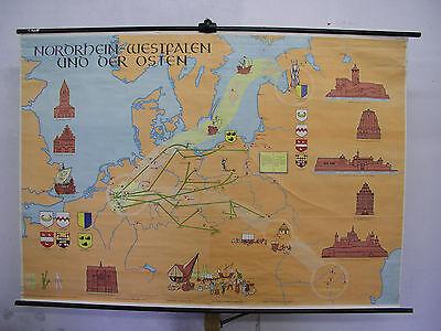 Schulwandkarte Backsteingotik Deutsche Ostsiedlung 164x115cm ~ 1955 Vintage Map