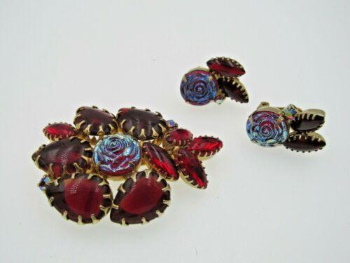 Molded Iridescent Glass Rose Prong Set AB Rhinestone Brooch Earrings Set A6