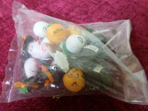 NOS 12 Vtg Halloween Pumpkin Ghost Witch Cat Pick Cupcake Decorations JAPAN