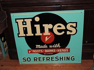 VINTAGE HIRES ROOT BEER SIGN LARGE 28'' X 24'' BLUE TIN EMBOSSED