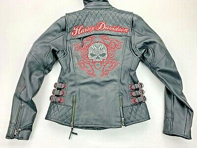 Harley Davidson Women's SCROLL 3N1 Willie G Skull Leather Jacket XS 98104-16VW