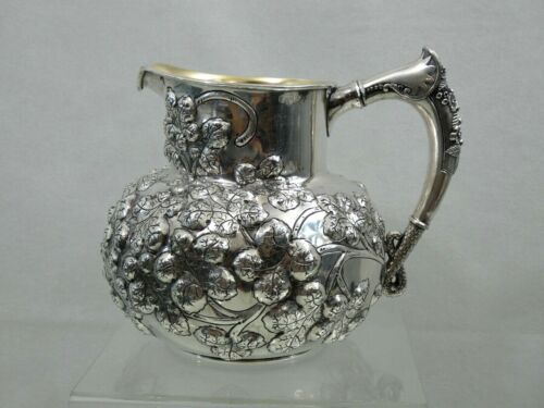 SUPERB ANTIQUE SILVER PLATED REPOUSSE HAND CHASED WATER PITCHER Wilcox Co.