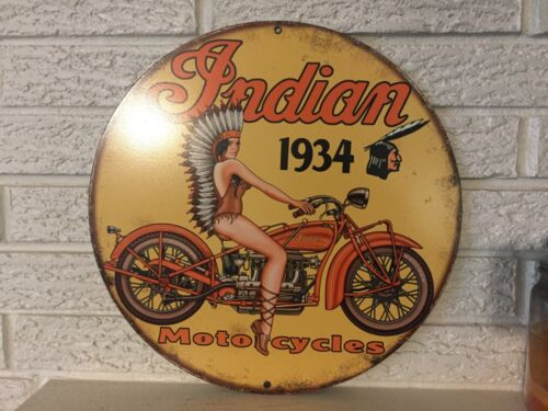 """1934 Indian Motorcycles Logo  Steel Sign New Size 14"""" Indian Girl on Motocycle"""