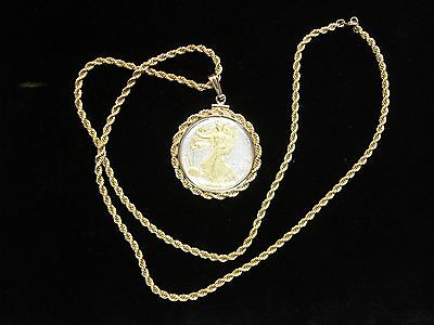 U.S. 1945 WALKING LIBERTY HALF DOLLAR PENDANT GOLD GILDED HIGHLIGHTS WITH CHAIN