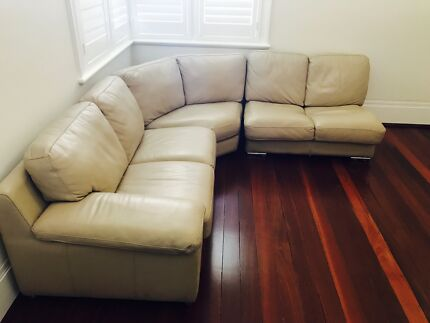 Massive Italian Leather L shaped couch