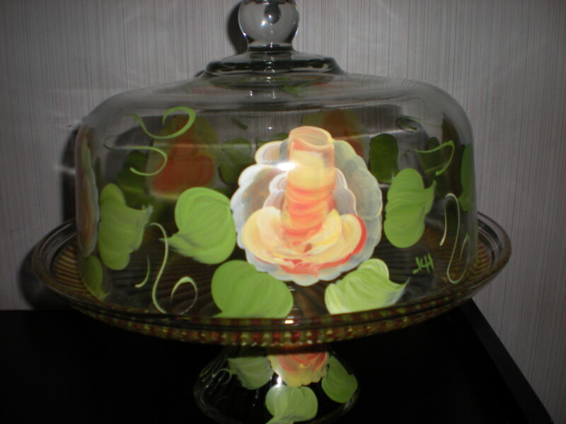 HAND PAINTED YELLOW ROSES W/ BURNT ORANGE CAKE PLATE/PUNCH BOWL(MADE IN THE USA)