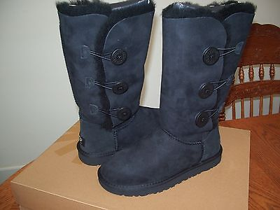 Ugg Boots Bailey Button Triplet Black Style 1873 Womens Size 5 New in Box