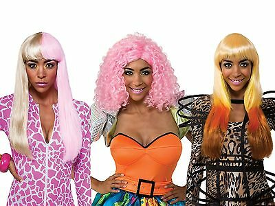 Adult Deluxe Pop Celebrity Singer Nicki Minaj Super Bass Leopard Pink Curly Wig - Nicki Minaj Super Bass Wig