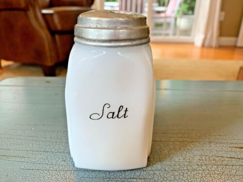Art Deco Antique Salt Shaker Milk Glass