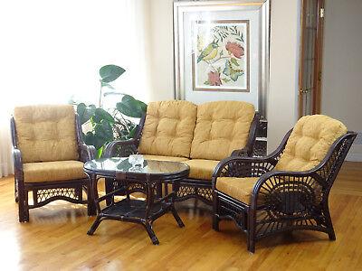 Malibu Rattan Living Set 2 Chairs Loveseat Coffee Table Dark Brown with Cushions