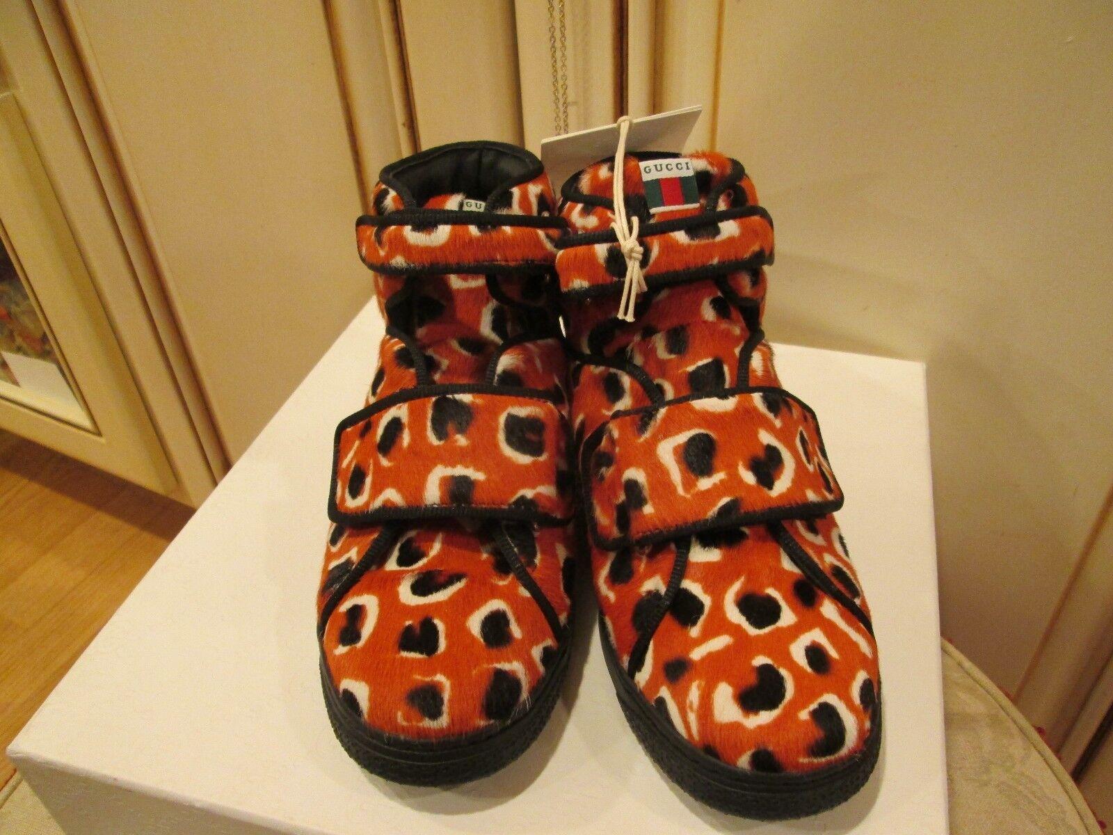 new GUCCI GIRLS DESIGNER slip on hi top G PONY orange shoes Sz 28 1